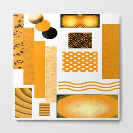 DEEP YELLOW ABSTRACT RETRO ART  WITH ORANGE YELLOW AND BLACK Metal Print