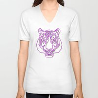rave V-neck T-shirts featuring Tiger Rave by James Thornton