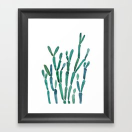Succulent rhipsalis watercolor Framed Art Print