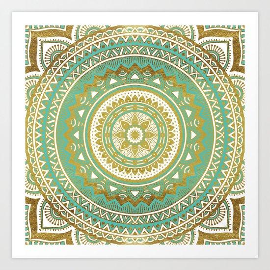 Blue and Gold Mandala Art Print