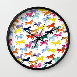 Rainbow Ponies Wall Clock