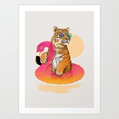 Chillin (Flamingo Tiger) Art Print