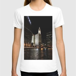 Wrigley Building and Chicago River at Night Color Photo T-shirt