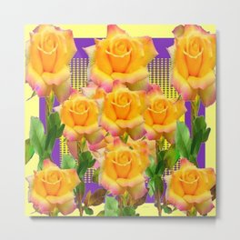 Purple Tinged Golden Yellow Garden Roses Green Art Metal Print