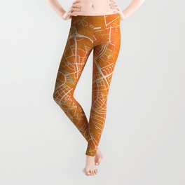 Uppsala, Sweden, Gold, Blue, City, Map Leggings