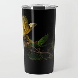 Yellow rose on black Travel Mug