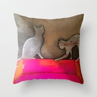 sofa Throw Pillows featuring pink sofa cat by xoxo