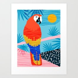 Say What - memphis throwback retro neon tropical 1980s 80s style hipster bright bird paradise art Art Print