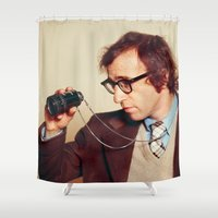 woody allen Shower Curtains featuring WOODY ALLEN by VAGABOND
