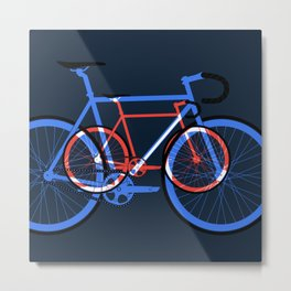 Fixed Gear Road Bikes – Blue, Purple and Red Metal Print