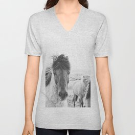 Black and White Horse Print Unisex V-Neck