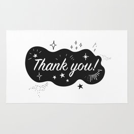 A sparkling Thank You Rug
