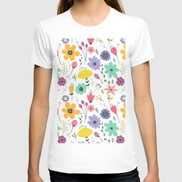 Colorful orange purple modern abstract floral illustration T-shirt