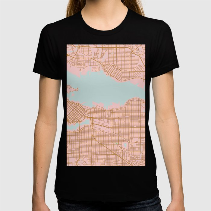 Pink and gold Vancouver map, Canada T-shirt