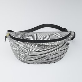 Black and White Geometric Illusion Fanny Pack