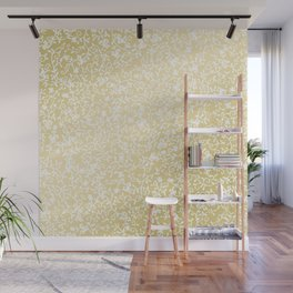 Hand painted modern faux gold white floral pattern Wall Mural