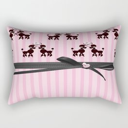 Poodles And Pink Hearts Rectangular Pillow