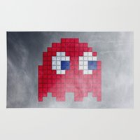 pac man Area & Throw Rugs featuring Pac-Man Red Ghost by Psocy Shop