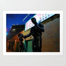 Ted  -- Ted Williams Statue outside Fenway Park in Boston at dusk, Red Sox Art Print