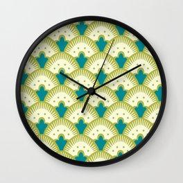 Fan Pattern Chartreuse Wall Clock