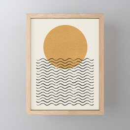 Ocean wave gold sunrise - mid century style Framed Mini Art Print
