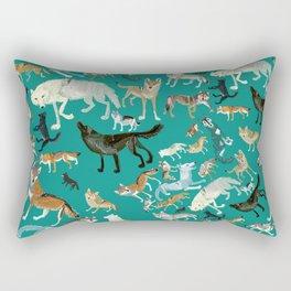 Wolves pattern in blue Rectangular Pillow