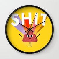 shit Wall Clocks featuring SHIT! by Mauro Gatti