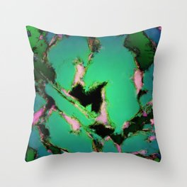 A working turquoise engine Throw Pillow