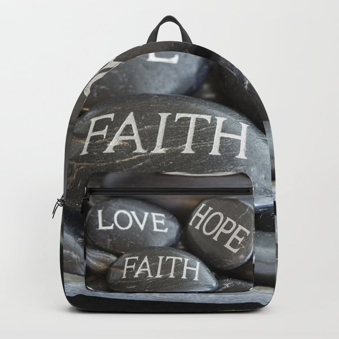 Love Faith Hope Christian Quote Black Pebble Embossing Backpack