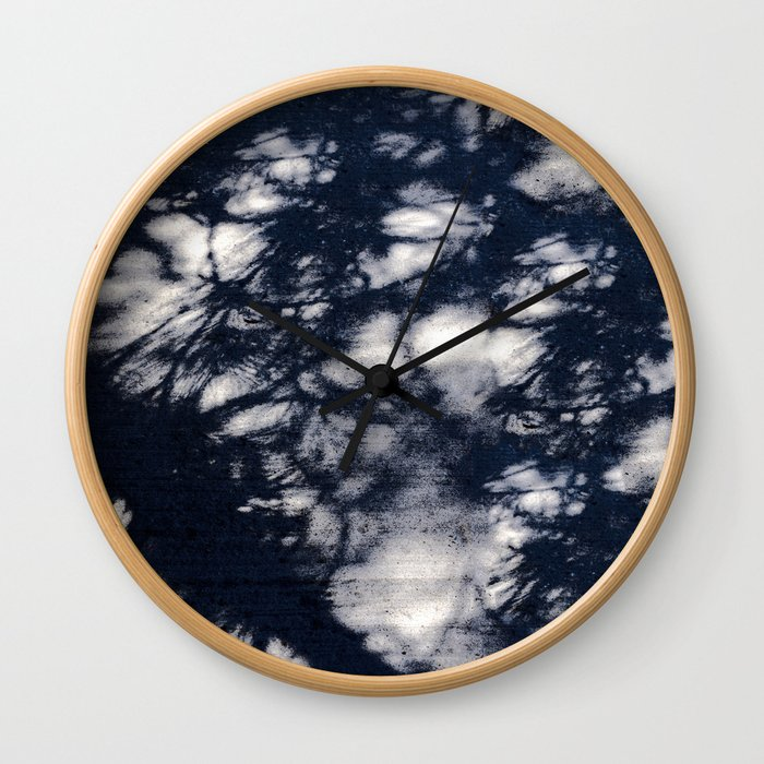 Navy Blue Pine Tree Shadows on Cement Wall Clock