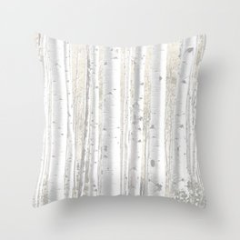 Pale Birch Trees 255 Throw Pillow