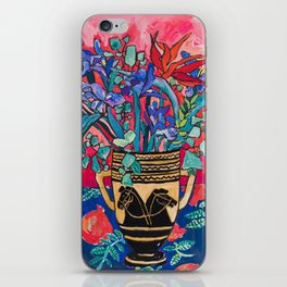 Persephone Painting - Bouquet of Iris and Strelitzia Flowers in Greek Horse Vase Against Coral Pink iPhone Skin
