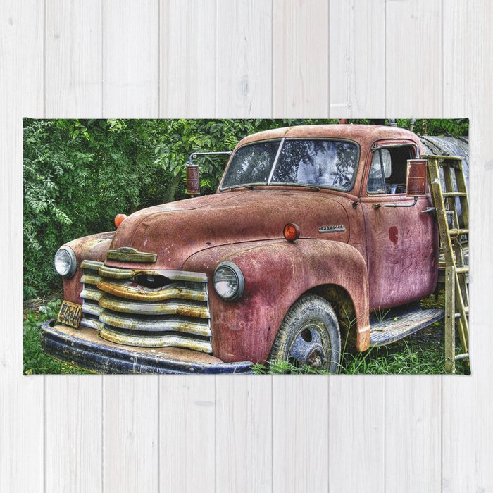 Old Chevy Truck Rug by anthonymdavis | Society6