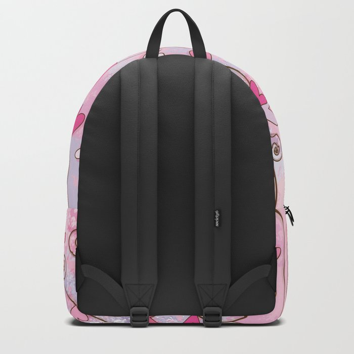 Heart and Spiral Botanic Pattern I - Spring Love Backpack