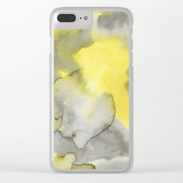 Hand painted gray yellow abstract watercolor pattern Clear iPhone Case