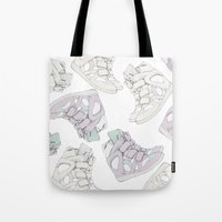 sneakers Tote Bags featuring SNEAKERS/ISABEL.M by PAPERPLANESLMC ILLUSTRATIONS