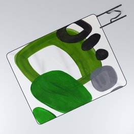 Mid Century Vintage 70's Design Abstract Minimalist Colorful Pop Art Olive Green Dark Green Grey Picnic Blanket