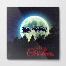 Santa in The Night Sky Metal Print