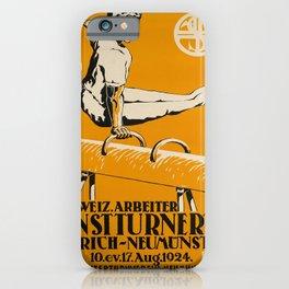 retro old zurich neumunster schweiz arbeiter kunstturnertag poster iPhone Case