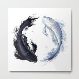 Yin Yang Carps Metal Print