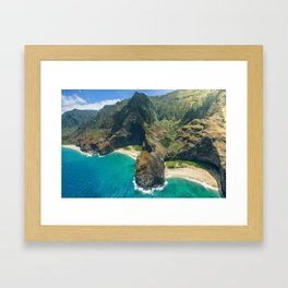 Aerial view Na Pali Coast, Kauai, Hawaii Framed Art Print
