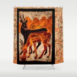 Two gazelles in a wildlife Digital wall art Shower Curtain