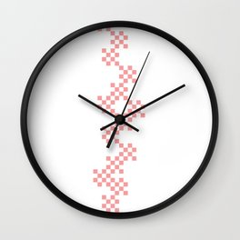 pixel pink pattern Wall Clock