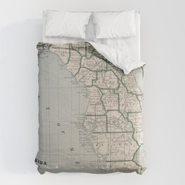Vintage Map of Florida (1883) Comforters