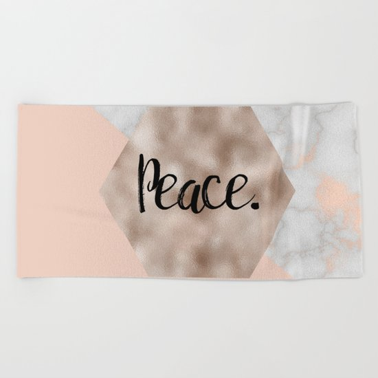 Rose gold layers - peace Beach Towel