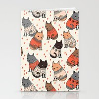 sweater Stationery Cards featuring Sweater Cats - by Andrea Lauren by Andrea Lauren Design