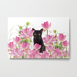 Black Cat Lotos Flower Gras Metal Print