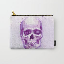 Pink Skull Watercolor Purple Abstract Carry-All Pouch
