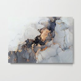 Modern Gold + Black Ink Dye Watercolor Abstract Painting Metal Print