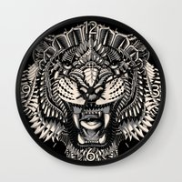 bioworkz Wall Clocks featuring Eye of the Tiger by BIOWORKZ